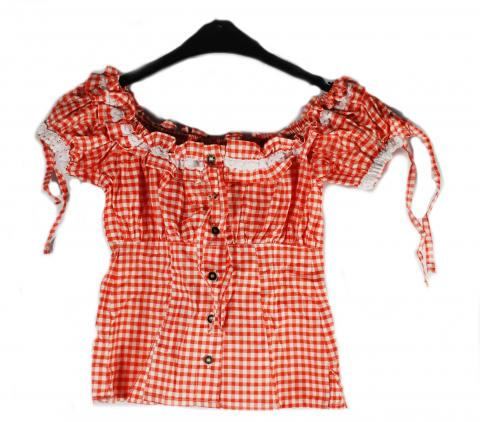 Trachtenbluse in rot - Bluse kariert - Gr. 44