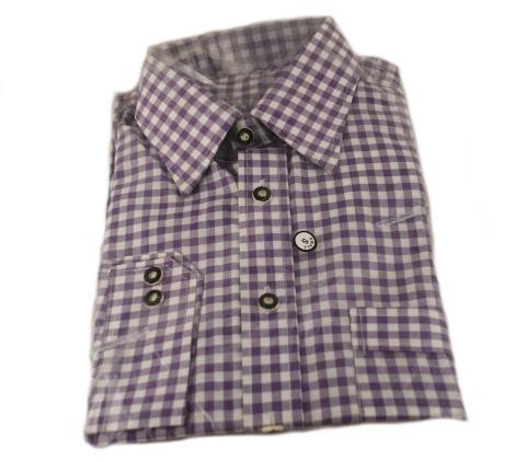 Trachtenhemd kariert violett Gr. M - 40