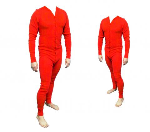 Long John Western Unterwäsche rot Einteiler Baumwolle Gr. 3XL  - Cowboy