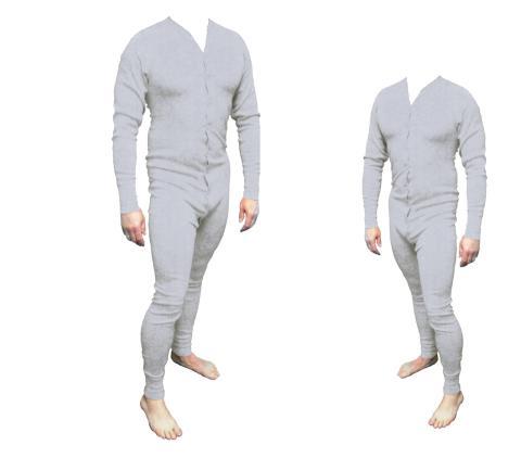 Long John Western Unterwäsche grau Einteiler Baumwolle Gr. M  - Cowboy Unterhose