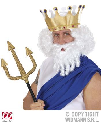 Perücke Zeus mit Bart - König Neptun- Poseidon - Zeusperücke Olymp