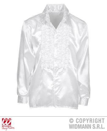 Satin Rüschenhemd weiß 70er Jahre Retro M/L 52  Partyhemd Hemd Ruffle