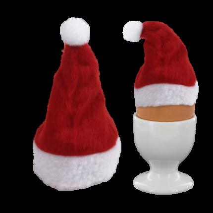 Weihnachtsmütze als Eierwärmer - Weihnachtsmannmütze Nikolausmütze Ei