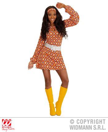 Groovy 70er Jahre Kleid Trompetenarmel Gr L Minikleid Rhombus