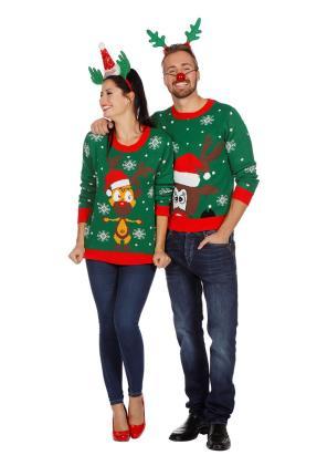 128-152 cm Kinder Pulli Wilbers Weihnachtspullover Rentier weiß Gr
