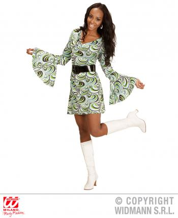 Groovy 70er Jahre Kleid Trompetenarmel Gr S Minikleid Wellen