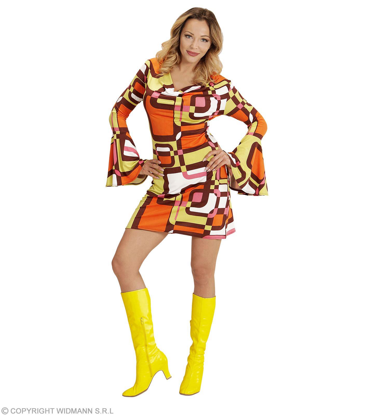 hoch gelobt 100% hohe Qualität Entdecken Sie die neuesten Trends Groovy 70er Jahre Kleid mit Trompetenärmel Größe XXL - Minikleid Hippie  Schlager