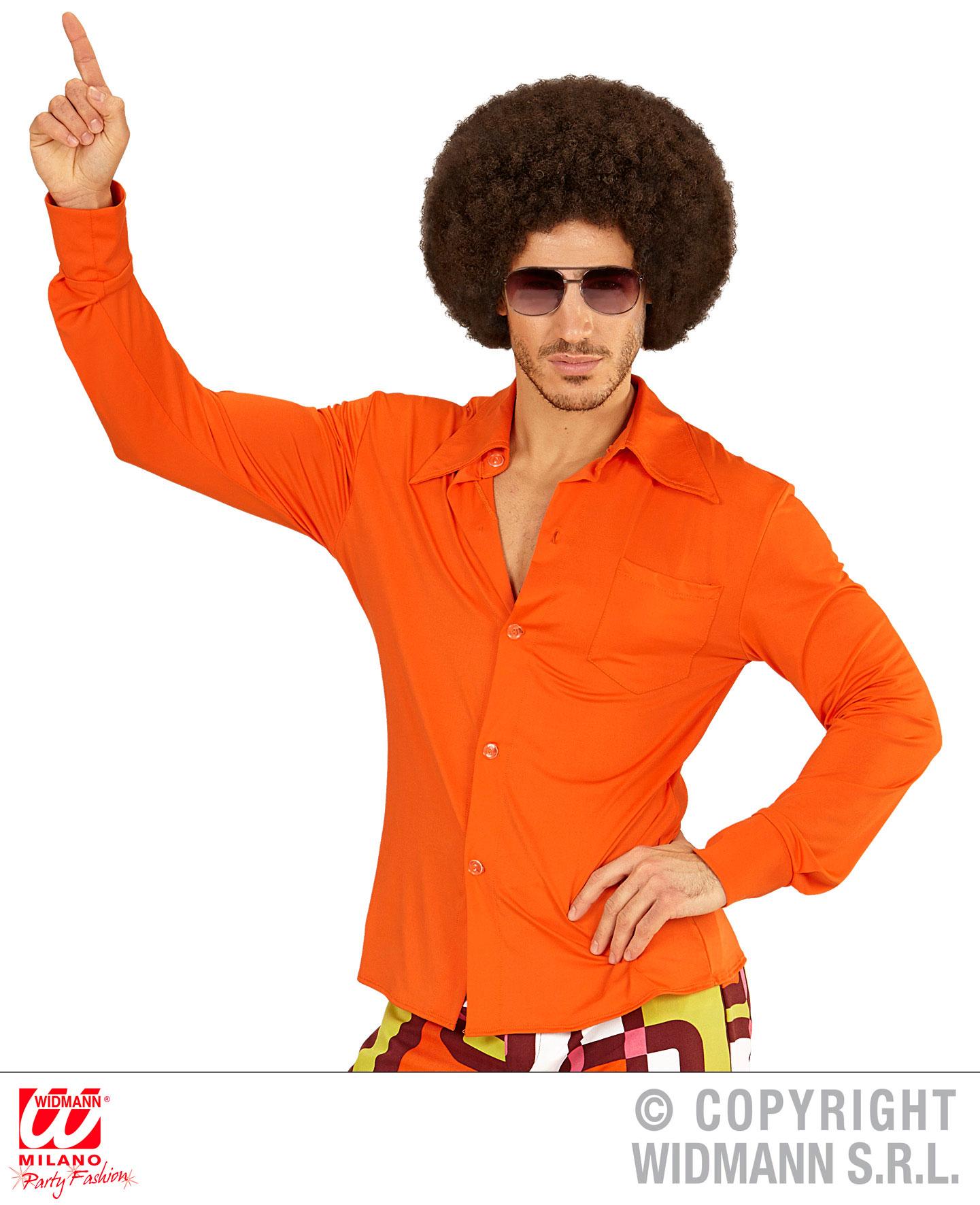 groovy 70er jahre hemd herren schlager gr l xl orange. Black Bedroom Furniture Sets. Home Design Ideas