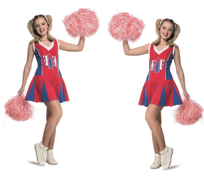 wilbers damen cheerleader rot blau kleid uniform gr 42 scherzwelt. Black Bedroom Furniture Sets. Home Design Ideas