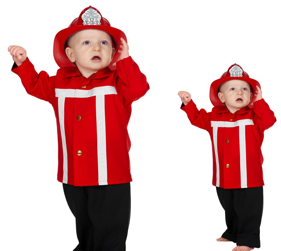 Wilbers Feuerwehrmann Kostüm rot Gr. 86 cm - Babykostüm | Scherzwelt