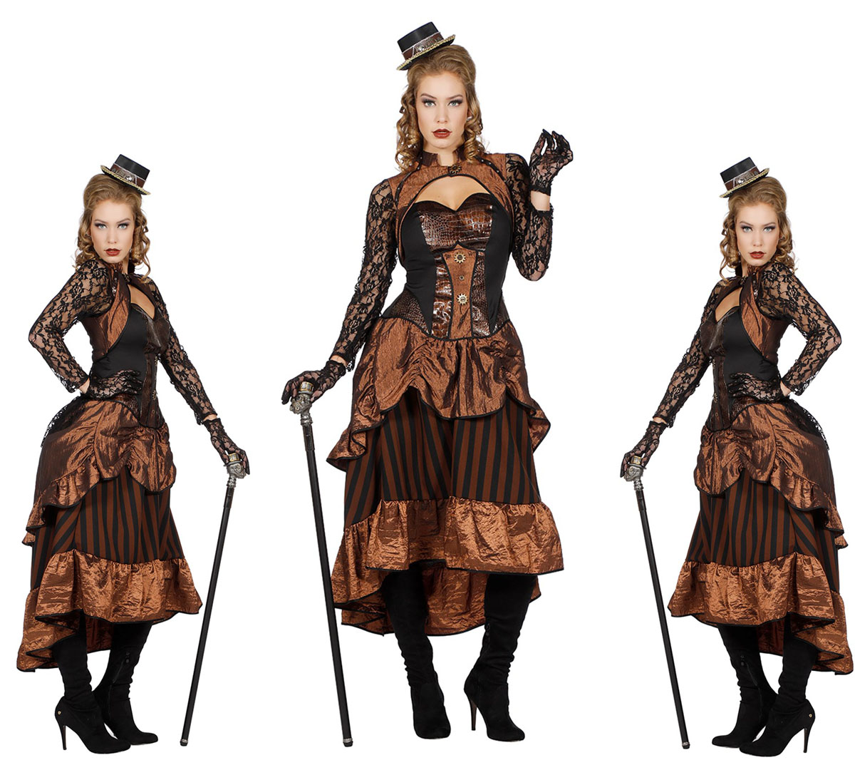 Retro Steampunk Kostüm Dame Victoria Kleid Gr 44 Scherzwelt