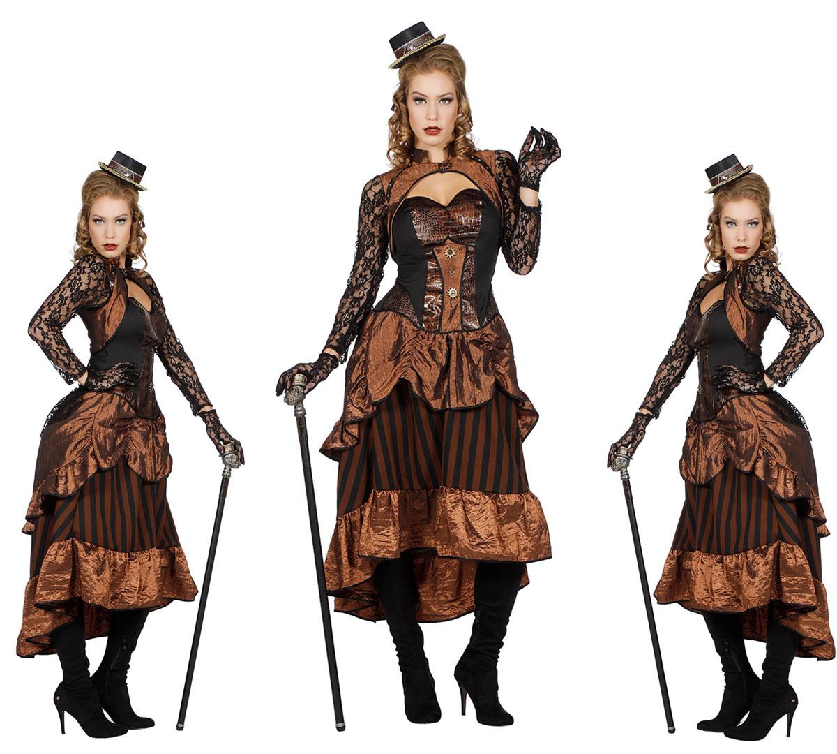 retro steampunk kostüm dame gr. 36-48 victoria kleid damenkostüm