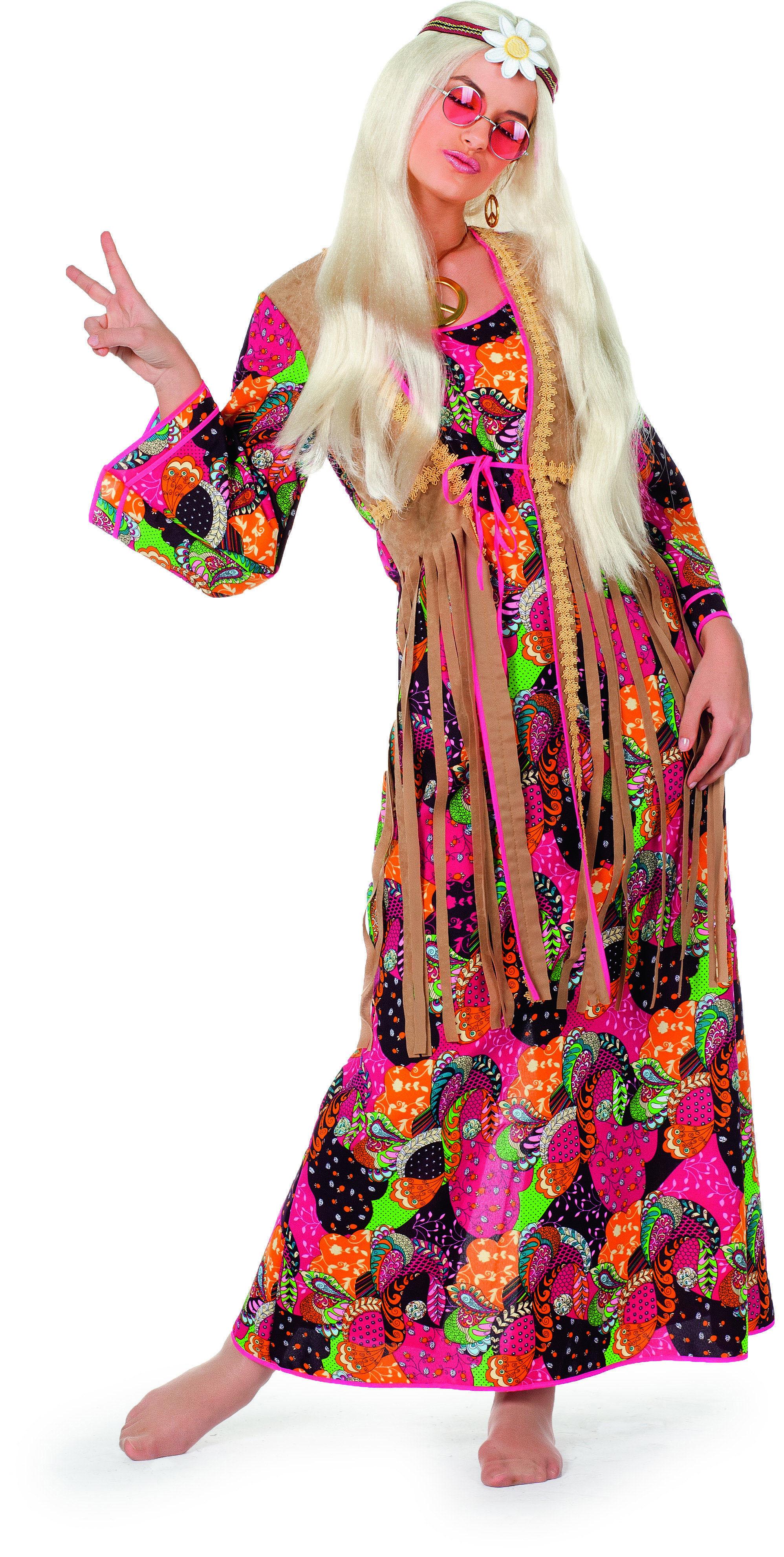 Wilbers Langes Hippie Kostum Damenkostum Gr 48 Scherzwelt