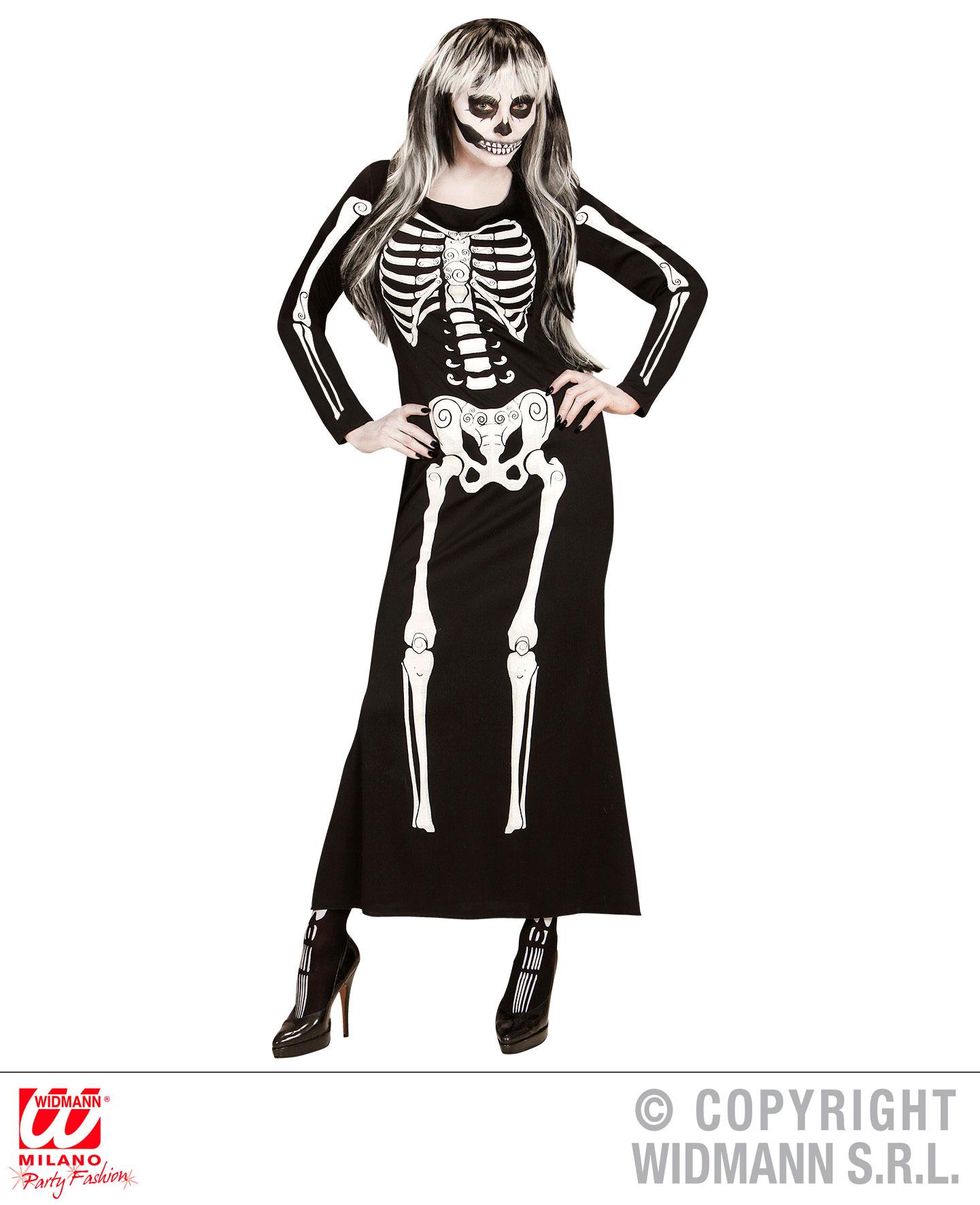damen skelett kleid skelegance gr s halloween skelettkleid scherzwelt. Black Bedroom Furniture Sets. Home Design Ideas
