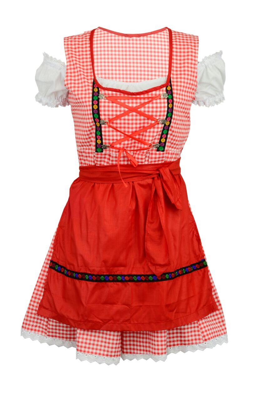 dirndle knielang mit bluse und roter schürze gr. 46 - dirndlkleid