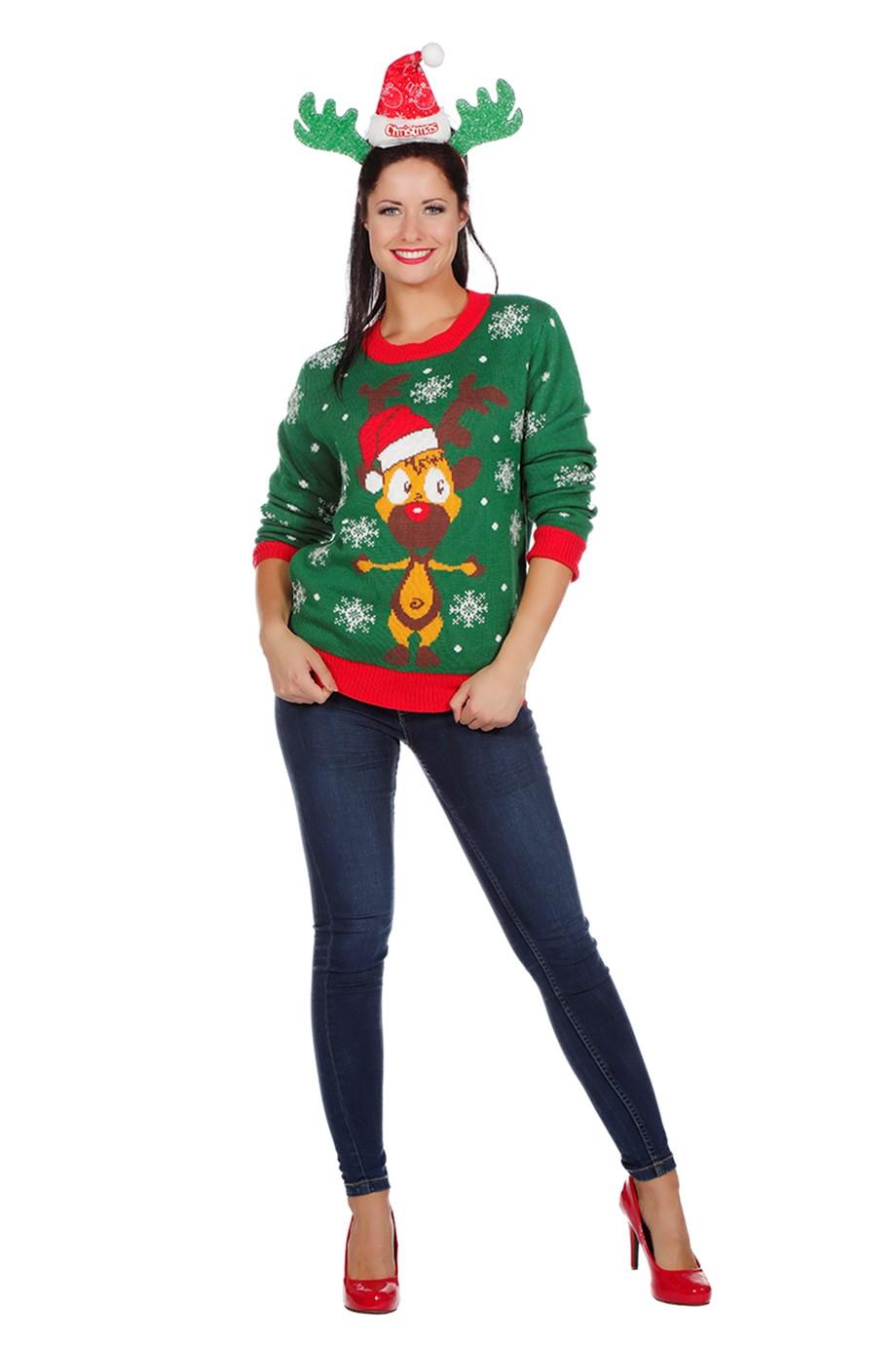 wilbers weihnachtspullover rentier grün gr s  xxl